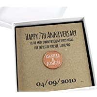 Personalised Happy 7th Anniversary Keepsake Gift, Lucky Penny Gift