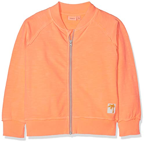 NAME IT Mädchen Sweatjacke Nmmdeston SWE Card UNB, Orange (Shocking Orange), 122 (Herstellergröße: 122/128)