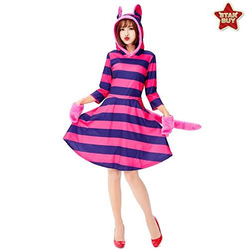 COSOER Alice Im Wunderland Gestreifte Katze Cosplay Kostüm Halloween Animal Dress Up - Lila,Stripes-M
