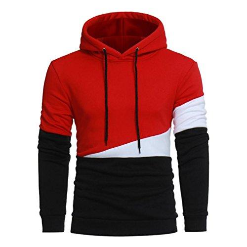 GreatestPAK Langarm-Hoodie Herren Stitching Sport Tops Farbmantel Jacke Outwear Kapuzenpullover,Armeegrün,XXXL