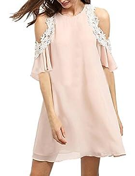 Auxo Vestido de Mujer sin Mangas Fladas A Volantes Halter Dress para Novia Fiesta Verano
