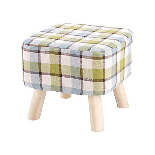 Big Square Foot Hocker Hocker Ottomane Textil Leinen Hocker Gepolstertes Sofa Abnehmbarer Und Waschbarer Bezug 100kg-Tragfähigkeit (40 × 35 cm) 4 Beine