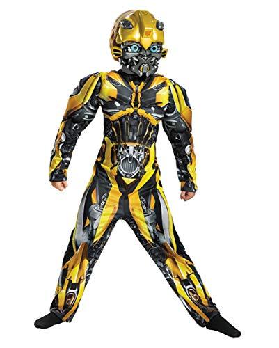 Transformer Bumblebee Kinder Kostüm - Horror-Shop Transformers Bumblebee Deluxe Muskelkostüm für Kinder L