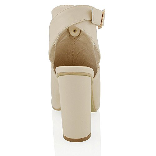 ESSEX GLAM Sandalo Donna Peep Toe con Cinturino alla Caviglia e Tacco a Cilindro Carne Pelle sintetica