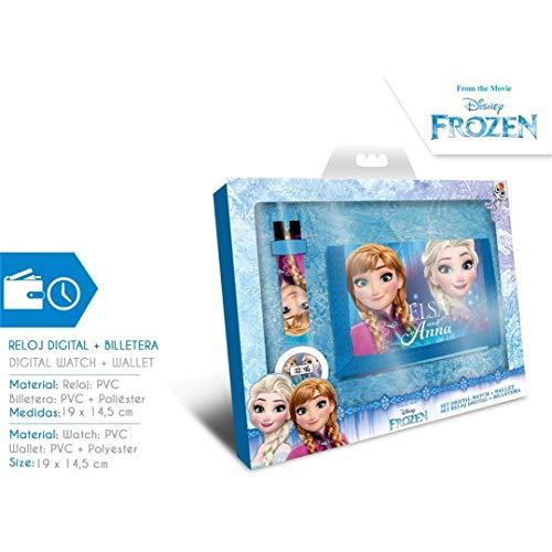 Disney frozen - set orologio digitale e portafoglio in scatola (wd19657), multicolore (kids liicensing 1)
