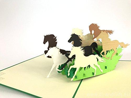 Wilde Pferde, 3D Pop up Grußkarten Jahrestag Baby Geburtstag Ostern Halloween Mutter Vater New Home NEW YEAR Thanksgiving Valentine Hochzeit Weihnachten