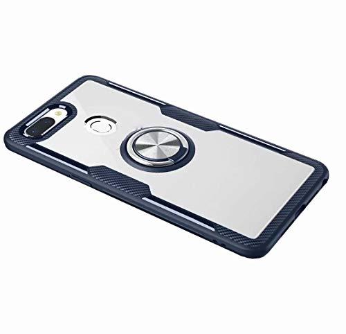 FANFO Xiaomi Mi 8 Lite Hülle, Rugged TPU/Transparent PC Transparent Hybrid Armor Fall und 360°Drehständer 3 in 1. Navy blau