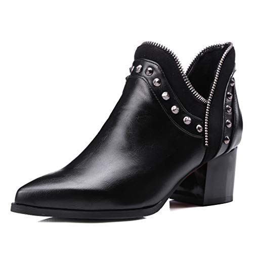(Womens Fashion Rivet Chelsea Boots Chunky Heel Ankle Booties Slip on Cutout Winter Boots)