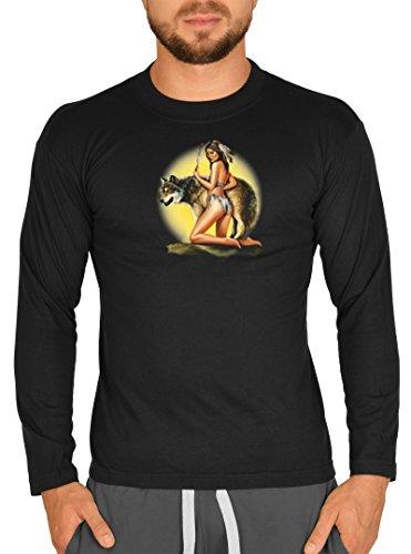Indianermädchen Indianerin Motiv Longsleeve : Mädchen mit Wolf -- Herren Langarmshirt / schwarz Schwarz