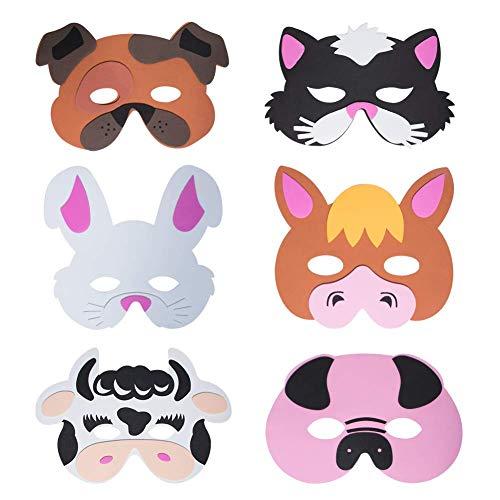 Werbewas 6er Set Schaumstoff Masken mit Bauernhof Tiermotiven - als Karnevals, Halloween, Geburtstags-Party ()