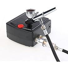 Airbrush Spray Gun Mini Maestro Airbrush Maquillaje Air Compressor Kit Airbrush Spray Gun Kit de pulverizador para la pintura de maquillaje Decoración de la torta Artesanía de uñas artes multiusos de precisión de doble acción de gravedad de alimentación T100K-Negro