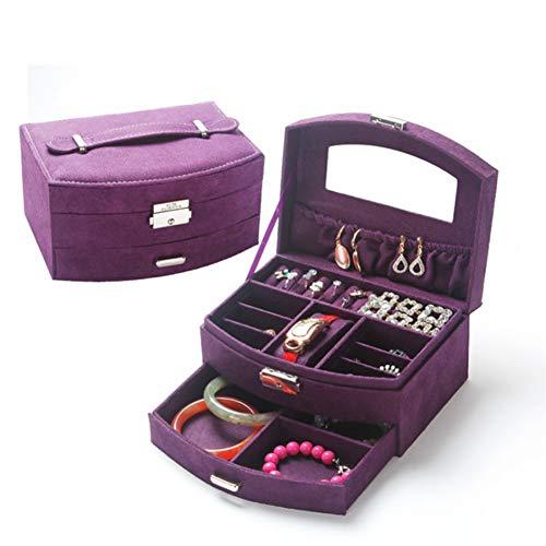 Preisvergleich Produktbild Schmuckkästen LCBLC Mode Samt Schmuck Aufbewahrungsbox Verpackung Fall 2 Schichten Veranstalter Luxus Erweiterte Flanell Schmuckschatulle