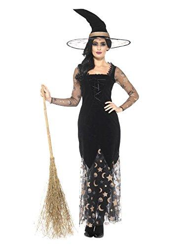Smiffys Damen Deluxe Mond und Sterne Hexen Kostüm, Kleid und Hut, Größe: 44-46, ()