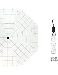 Paraguas Plegables Pequeño Fresco Paraguas Automático Mujer Plaid Sencillo Paraguas de Protección Solar B Pila Doble