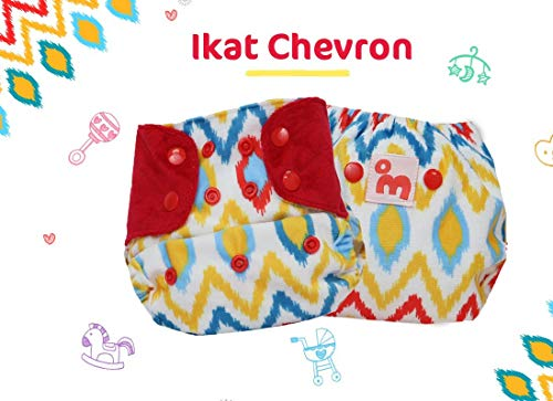 Superbottoms Cloth Supersoft Reusable Cover Diaper with 1 Stay Dry Soaker - Ikat Chevron