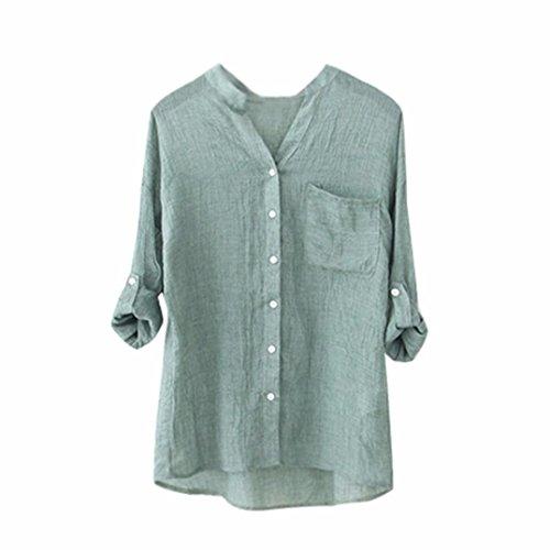 Weiche Baumwolle Solide Taste Hemd HARRYSTORE Damen Beiläufig Lange Ärmel Lose Bluse Oberteile (Grün, L) (Ärmel Baumwolle Rüschen Lange)