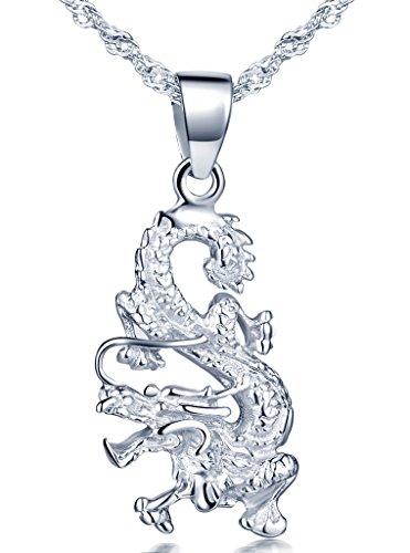 Unendlich U Fashion 925 Sterling Silber Damen Halskette Drache Anhänger Kettenanhänger