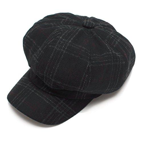 EINSKEY Schirmmütze Damen Elegant Barett Cap Schwarz Grau Grün Ballonmütze mit Visor