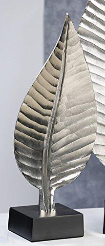 Casablanca - Skulptur Blatt aus Aluminium Silber antikfinish auf Sockel schwarz -