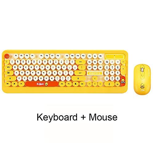 WHQ Gaming Wireless Keyboard Mouse Combos Netter Punk Retro Runde Tastenkappe Cartoon Persönlichkeit Computer-Peripheriegeräte für Desktop-Laptop,Gelb (Desktop-computer Ich)