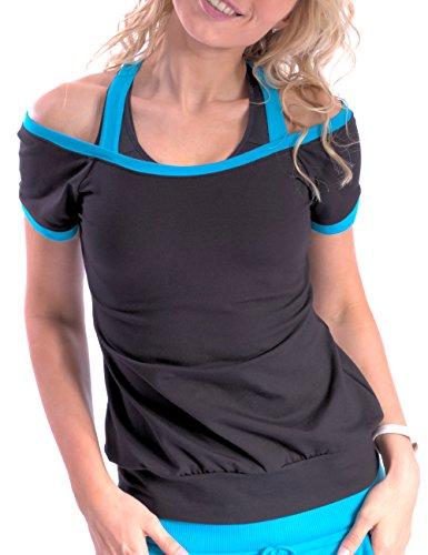 Winshape Damen Cut-Out-Shirt Freizeit Sport Fitness Dance Schwarz/Türkis, XL