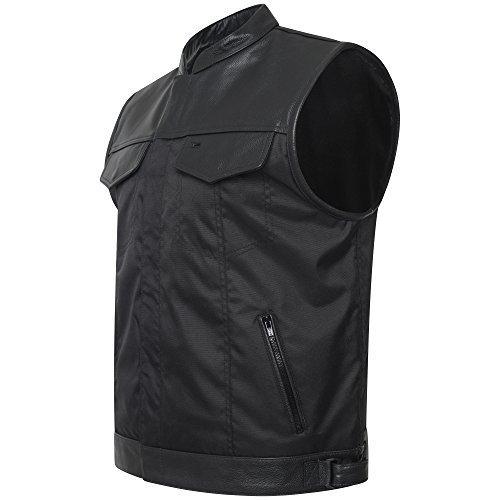 Star Leather Herren Cordura schwarz aus echtem Leder Trimm Biker Weste/Weste - Schwarz, XXX-Large (Star Leather)