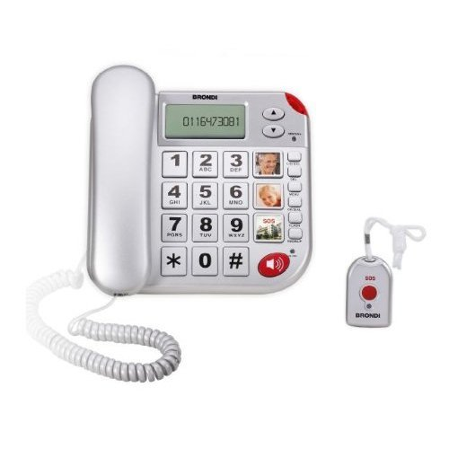 Telefono SalvaLaVita per Anziani con Telecomando Telesalvalavita SOS 118 Telesoccorso Teleallarme Salvavita Brondi Plus