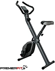 PremierFit X-60 F-Bike - Collapsible/Folding Cardio Exercise Bike with Pulse Sensors, Multi-Function Computer + iPad/Phone Holder - 2 Year Warranty