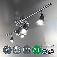 Faretti LED a soffitto orientabili I plafoniera moderna a braccia a soffitto per l'illuminazione da interno I 6 luci I corpo metallo, color titanio I incl. lampadine da 3 W I 230 V I GU10 I IP20