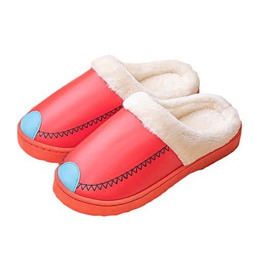 Pantoufles Femmes Mousse d'hiver Fluffy Slip-on House Dames Col en Fausse Fourrure Maison Chaussures Intérieur en Plein Air Anti-Skid PVC Épaisse Semelle
