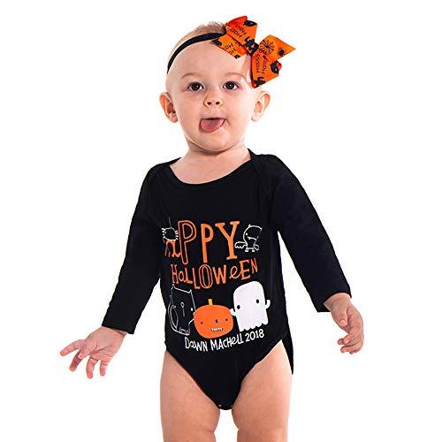 LEXUPE Kleinkind Baby Mädchen Jungen Brief Strampler Overall Halloween Kostüm Outfits(Schwarz,70)