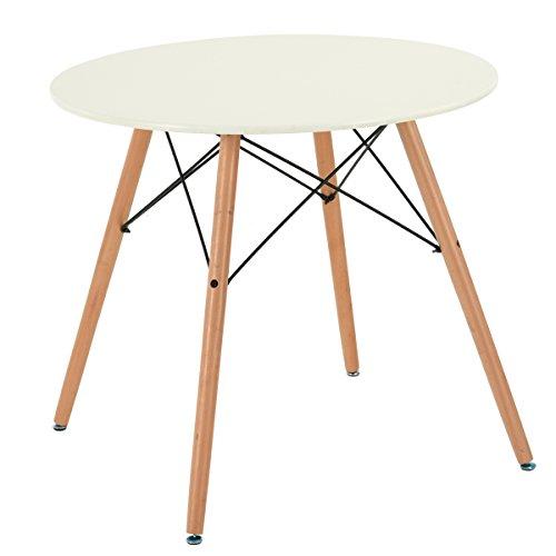H.J WeDoo Tavolo da Pranzo Moderno Bianco Rotondo con Gambe di Legno 80x80x75 cm