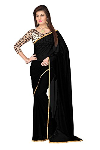 FINEFAB Chiffon Plain Saree (Pack Of 2) (Chifon.Black_Black)
