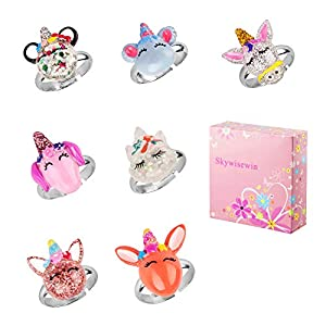 Einstellbare Ringe Set Kleine Mädchen – Cute Unicorn Bunte Ringe Kinder, Schmuckset für Kinder