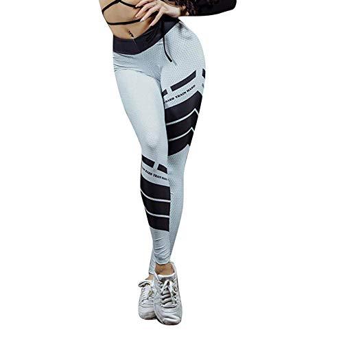 Jogginghose Damen Gym Staresen Yoga Hose Dünne Lange Leggings Damen Bleistifthosen Zeichendruck Damen Yoga Leggins Hose Muster Hüfthose Blumenmuster Lange Hose (Weiß(G), XL) -