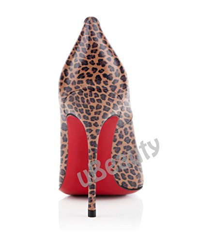 uBeauty Damen Leopard Pumps High Heels Round Zehen Pumps Slip-on Klassik Übergröße Pumps Braun