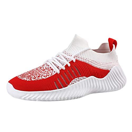 CUTUDE Herren Laufschuhe,Freizeitschuhe Herren Schuhe Sneaker Mode Atmungsaktives Mesh Kreuz Gym, Joggingschuhe (Rot, 45 EU) - Kleinkind Schuhe Jordan Jungen