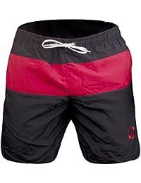 Otaru Herren Badehose (Gr. S,M,L,XL) Hochwertige Schwimmhose Ideal Für Wassersport & Freizeit (Schwarz/Rot)