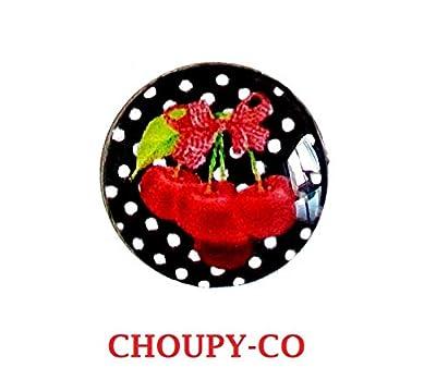 Bague cabochon * au temps des cerises * rouge et noir, pois blancs, bague réglable, argenté, bijou fantaisie, idée cadeau, anniversaire, fêtes, cadeau copines.