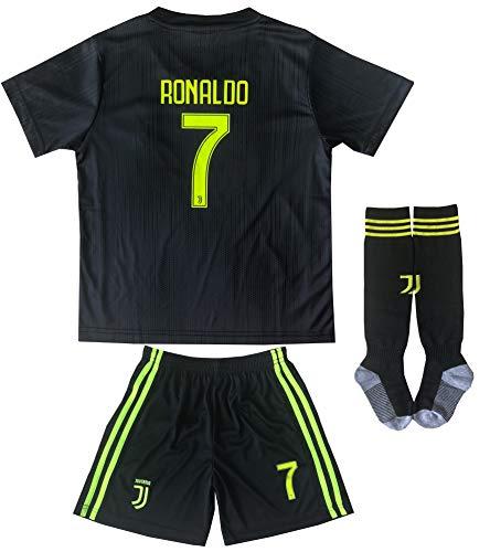 MFG 2018/2019 Cristiano Ronaldo Third Schwarz CR7 Juve Kinder Trikot Hose und Socken Kindergrößen (28 (10-11 Jahre)) -