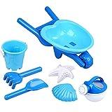 STOBOK 7 Pezzi per Bambini Giocattoli da Spiaggia in Sabbia Set Pale in Plastica Secchiello per Annaffiatoio Conchiglie Stampi Sandbox Sand Toy