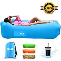 Inflatable Lounger, SLB 3.0 Waterproof Air lounger with Headrest, Leak-proof Design, Portable Air Sofa Couch, Fast Inflating Air Bed, Ideal Lazy Lounger for Backyard/Pool/Beach/Camping/Picnics/Travel/Music Festival - Hold Up To 500lbs