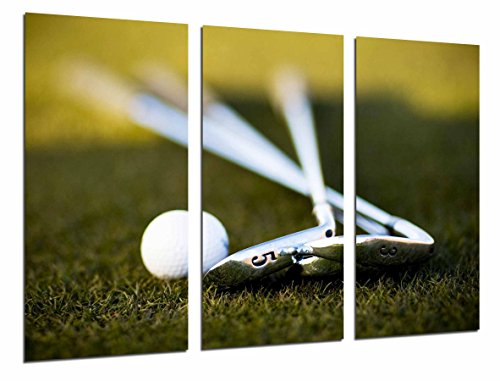 quadro su legno, sport golf, clubs e ball on lawn, 97 x 62cm, stampa in qualita fotografica. ref. 26796