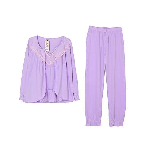 Damen Schlafanzug Pyjama Set Nachtwäsche Set Zweiteiliger Schlafanzug 5(150-165cm)