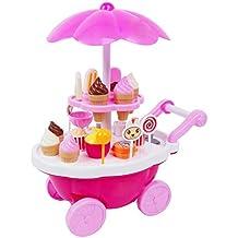 Vococal -Bambini Miniatura Caramella Dolce Gelato Carrello Negozio di Dolci Cucina Giocattolo con Leggero e Musica Educativo Giocattolo Impostato Rosa