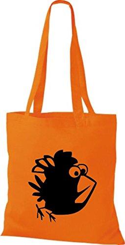Shirtstown Pochette en tissu Animaux Oiseau Moineau Orange - Orange