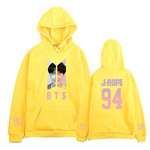 INSTO Pullover BTS J-Hope Bedrucktes Muster Plus Samt-Hoodie,Gelb,XXL