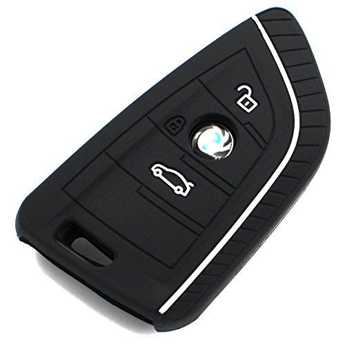 Schlüssel Hülle BD für 3 Tasten Auto Schlüssel Silikon Cover von Finest-Folia (Schwarz Weiß)