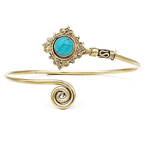 mantraroma Armreif Armband Messing golden Türkis blau grün (932-05-020-15)