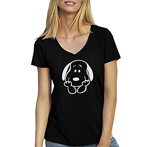 Lucky Snoopy Joe With Smile Noir T-shirt Col V pour